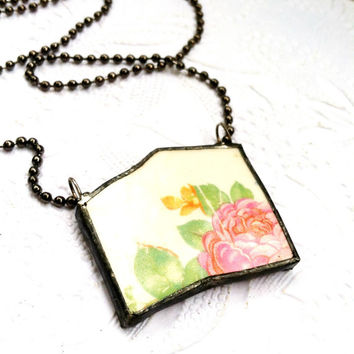 Broken Antique China Necklace, Vintage Floral China Necklace, Shattered Dish Jewelry, Soldered Plate Pendant, China Shard Necklace, Boho