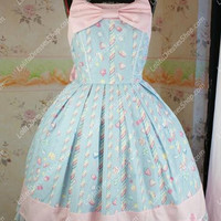Fairy Tale Sky Blue Cotton Princess Sweet Lolita Dress