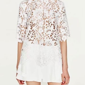 White Half Sleeve Keyhole Back Semi Sheer Lace Top