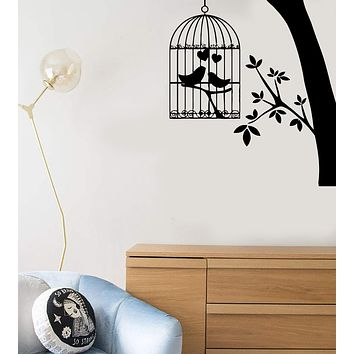 Wall Stickers Vinyl Decal Bird Cage Tree Branch Love Heart Decor Unique Gift (ig118)