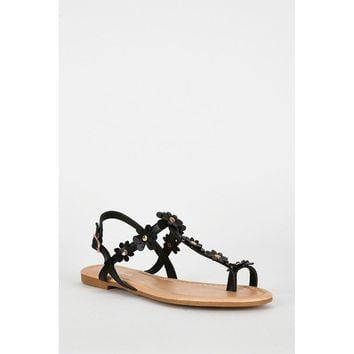 Black Flower Detail Toe Post Strappy Sandals