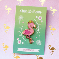 Flower Pink Flamingo Enamel Pin