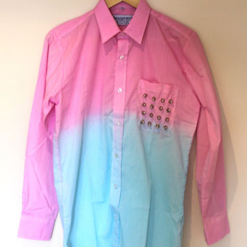 Dip dye pink and blue longsleeve cotton shirt with studded pocket