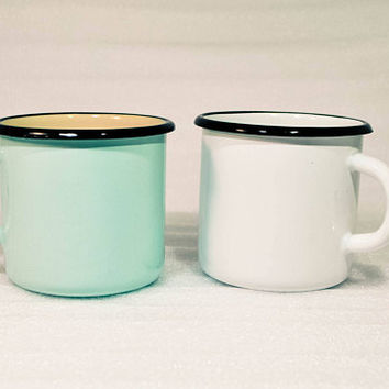 Enamel Mug, White or Mint Green Mug, Camping Mug, Mint Green Decor, Mint To Be, Wedding Decor, Tin Metal Mugs Cups Outdoor Gardening Picnic
