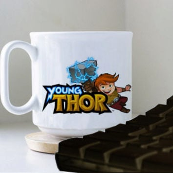 young thor logo mug heppy mug coffee, mug tea, size 8,2 x 9,5 cm.