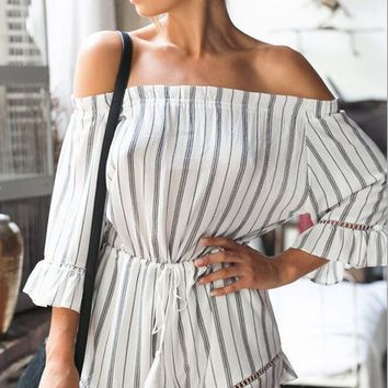 Striped Strapless Casual Romper