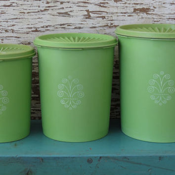 tupperware servalier canisters lime green from 13th street vintage lime green tupperware canister set of 4 by
