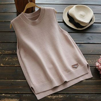 New Autumn Winter Casual Sweet Simple Sleeveless Sweater Women's Solid Round Neck Knitting Vestidos Femininos Vest Sweater U619