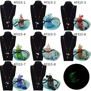 New Arrival Diffuser Perfume Refillable Coloured Glaze Essential Oil Bottle Pendant Noctilucent Necklace