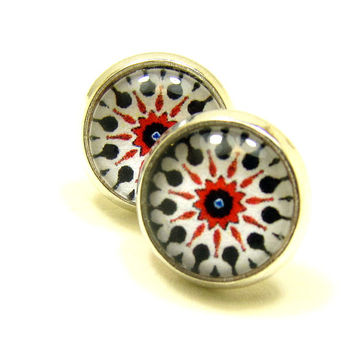 Red small stud earrings, glass dome studs, casual post earrings, silver plated stud earrings, mothers day gift, glass cabochon earrings