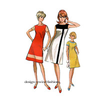 McCalls 8139 MONDRAIN DRESS PATTERN Mod Color Block Dress 60s A-Line Go Go Dress OnePiece Shift Dress Size 18 Bust 38 Womens Sewing Patterns