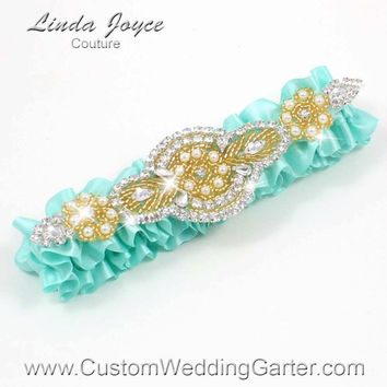 Aqua and Gold Vintage Wedding Garter Rhinestone 314 Aqua Blue Custom Luxury Prom Garter Plus Size & Queen Size Available