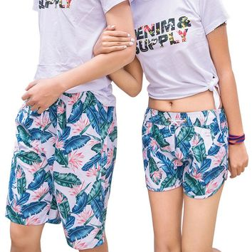 H.S.F.Q Quick-drying Beach Shorts Men Women Tropical Flower Printing Lovers Pants Hot Selling Summer Couples Knickers Short