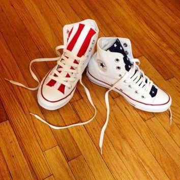 ONETOW Reconstructed High Top Converse with Custom American Flag Design 4TH OF JULY