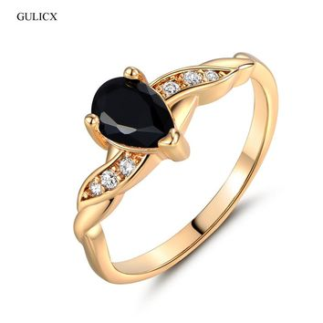 GULICX 2017 Fashion Finger Teardrop Ring for Women Gold-color Ring Black Crystal Cubic Zirconia CZ Engagement Rings R104