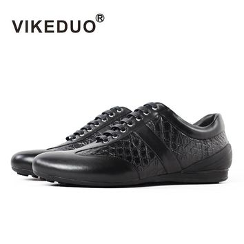 Vikeduo Time-limited 2018 Crocodile Handmade Designer Men's Casual Shoes 100% Alligator Fashion Genuine Leather Luxury Leisure
