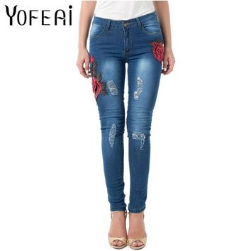 DKF4S YOFEAI Jeans Women Skinny Elastic Jeans for Women High Waist Vintage Embroider Flowers Jeans Ripped Denim Trousers for Women