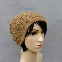 knitted beanie hat, knit brown hat, knitting winter cap, knit pom slouche, autumn wool cloche, women men accessories, knit clothing
