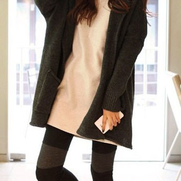 Deep Gray Long Sleeve Knitted Sweater Dress