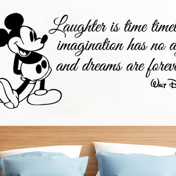Mickey Mouse Wall Decals Quote Laughter Is Vinyl Sticker Nursery Boy Room SM88