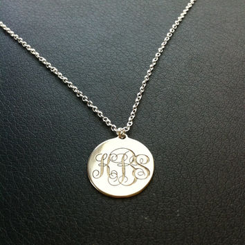 Gold Monogram disc Necklace, choose any initials in Silver or Gold celebrity inspired, Initial Necklace