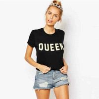 "Black ""Queen"" Letter Print Short Sleeve T-Shirt"