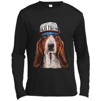 Rapper Basset Hound Dog in Hip Hop Hat New York Long Sleeve Moisture Absorbing Shirt
