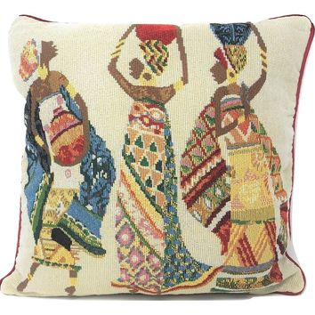 "DaDa Bedding Dancing Women African Dreams Tapestry Throw Pillow Covers 16"" (18117)"