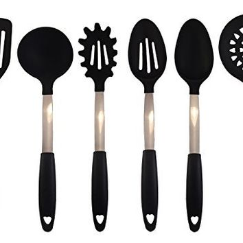 6 Piece Premium Stainless Steel Cooking Utensils Set - Stainless Steel Kitchen Utensils Set With Silicone Tips and Handles By Cuisine Essentials