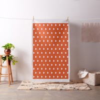 Custom White Heart Pattern Orange Red Elegant Fabric