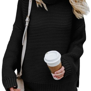 Women Black Cozy Long Sleeves Turtleneck Sweater