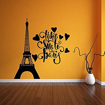 Take Me To Paris with Eiffel Tower and Hearts Vinyl Wall Words Decal Sticker Graphic