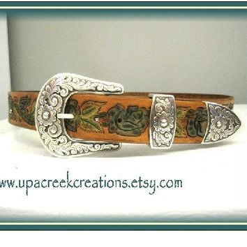 Hand Tooled Leather Belt with blue  by UpACreekCreations on Etsy