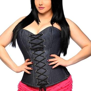 Daisy Corsets Top Drawer Denim Steel Boned Lace-Up Front Corset