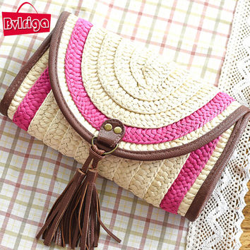 BVLRIGA Straw women clutches weave messenger bag high quality beach bag summer style famous brands designer  ladies shoulder bag