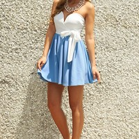 Doing Alright Dress: Powder Blue/White