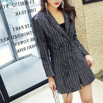 SHENGPALAE 2018 Autumn Jacket For Women Personality Turn-down Collar Long Sleeve Sequins Vintage Ladies Coat Fashion Tide FF593