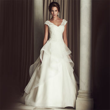 Jeanne Love Cap Sleeves A Line Vestido De Noiva Luxurious Robe De Mariage Bridal Dress Wedding Dresses 2016 Casamento YN3301