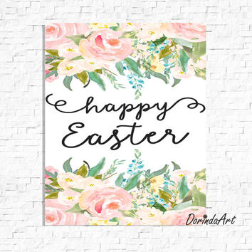 Happy Easter Printable  Easter art print Watercolor floral wreath Pastel Easter sign Spring wall art Pastel Home Decor 5x7 8x10 11x14 16x20