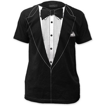 Tuxedo Black Shirt Tux Joke Faux Prom Wedding Groom Costume Outfit Mens