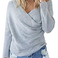 Women's Sexy V Neck Off Shoulder Crisscross Wrap Knit Sweater Jumper