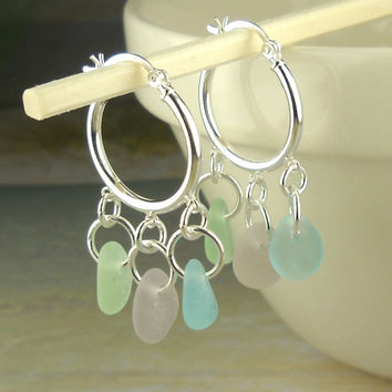 Genuine Sea Glass Earrings Sterling Silver Hoop Earrings With Rare Pastels