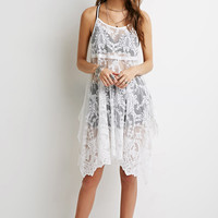 Embroidered Mesh Trapeze Dress