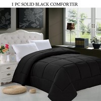 Elegant Comfort Luxury Down Alternative Over-Filled Comforter/Duvet Cover Insert Hypoallergenic, Twin/Twin X-Large, Black