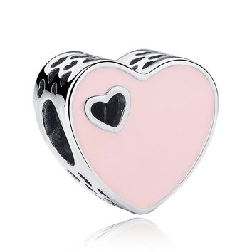 12 Style Original 925 Sterling Silver Heart Shape Love Charms Beads Fit DIY Bracelet Jewelry Valentine's Mother's Day GIFT
