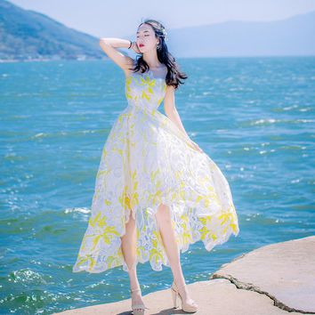 Women Irregular Embroidery Gauze Cute Dress Formal Beach Bohemian Dress Expansion Bottom White Sweet Asymmetrical Dress