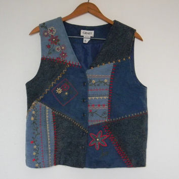 FREE usa SHIPPING Vintage Apparel ladies acrylic  Embroidered blue denim patchwork bohemian hipster vest size S