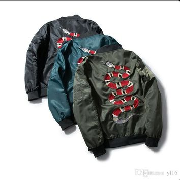 high quality Embroidered snake pattern air force one Jacket Hip Hop baseball justin bieber MA-1 pilot motorcycle yeezus Y-3 Jack