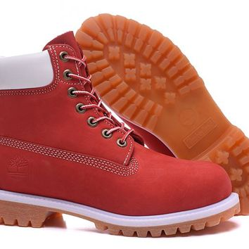 Timberland Classic 10061 White Red Mens Premium Ankle Bootss Hikins Shoes Winter Snow Boots