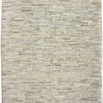 Alabaster Cow Hide Patchwork II Beige Rug | Contemporary Rugs
